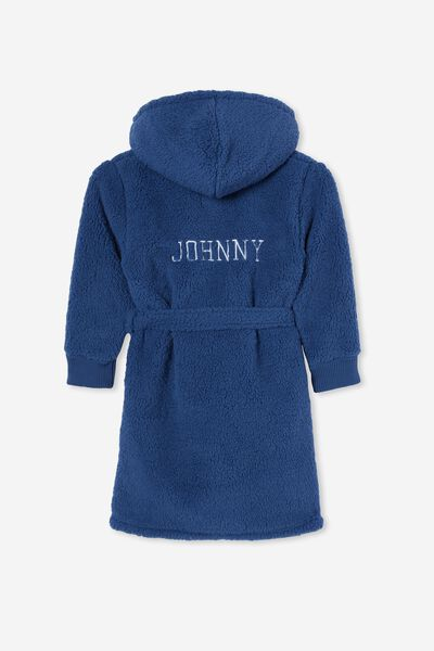 Boys Hooded Long Sleeve Sherpa Gown Personalised, PETTY BLUE
