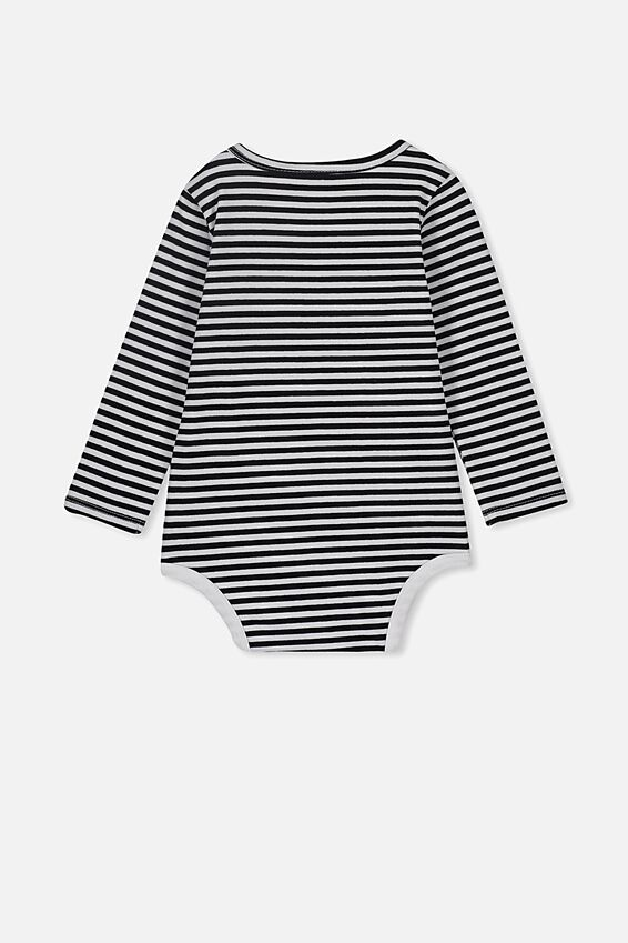 The Long Sleeve Bubbysuit, CHRIS STRIPE WHITE/BLACK