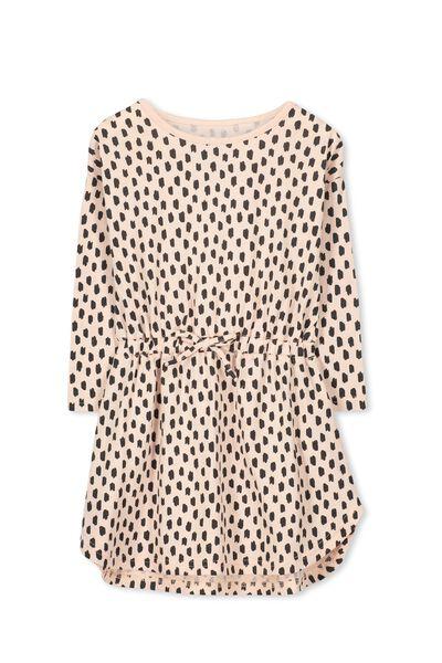 Eloise Long Sleeve Dress, POWDER PINK/MINI SCRIBBLES