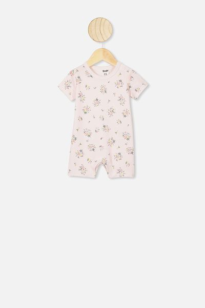 The Short Sleeve Romper, CRYSTAL PINK OLIVIA FLORAL