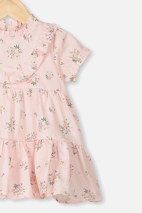 Carol Short Sleeveflutter Dress, CRYSTAL PINK/OLIVIA FLORAL