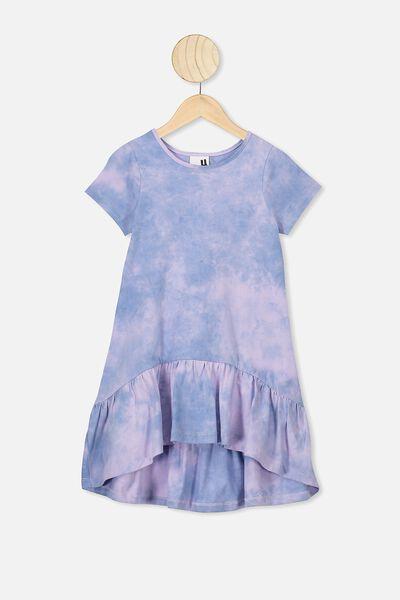 Joss Short Sleeve Dress, DUSTY BLUE/VINTAGE LILAC TIE DYE
