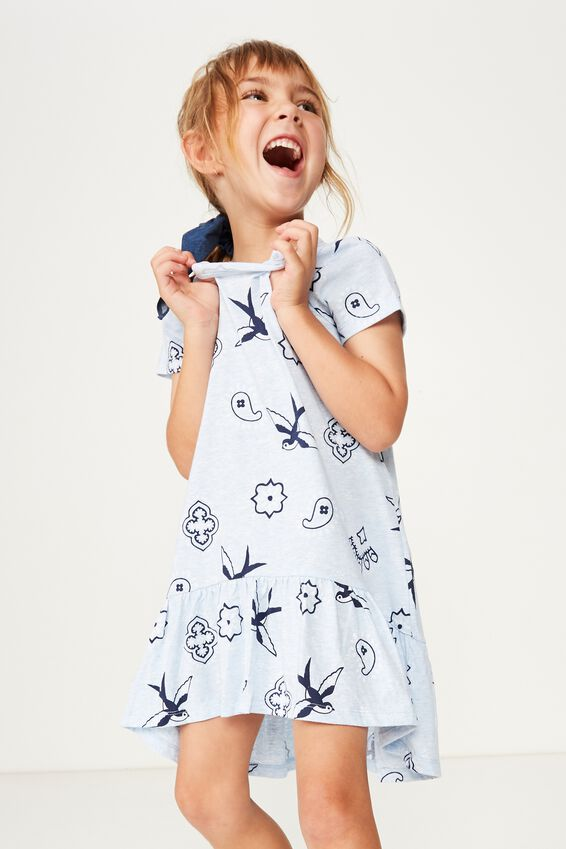 Joss Short Sleeve Dress, BLUE MARLE BANDANA