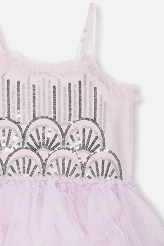 Iris Tulle Dress, LAVENDER FOG RUFFLES/SEQUIN DECO