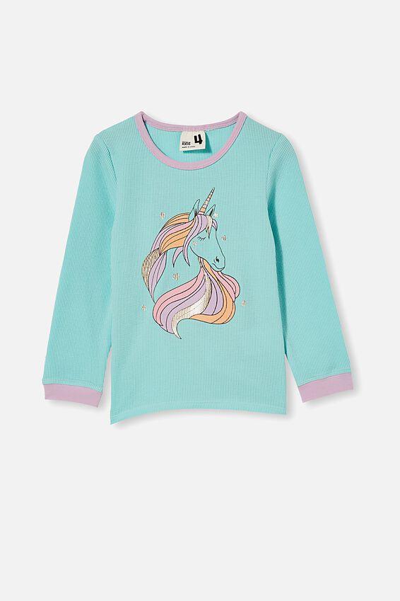 Edith Long Sleeve Pyjama Set, MYSTIC UNICORN / DREAM BLUE