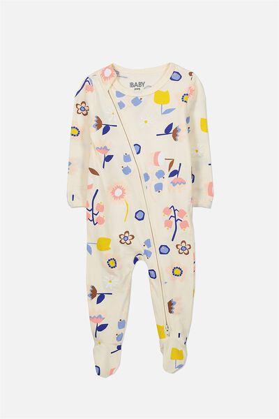 Sleep Mini Zip All In One Jumpsuit, EGGNOG/SCANDI FLORAL