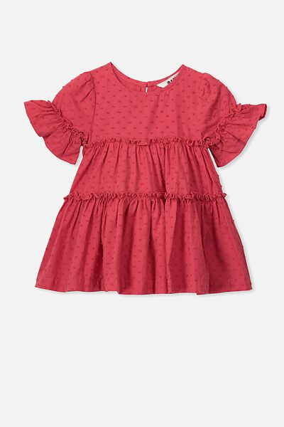 Abby Flutter Dress, LUCKY RED