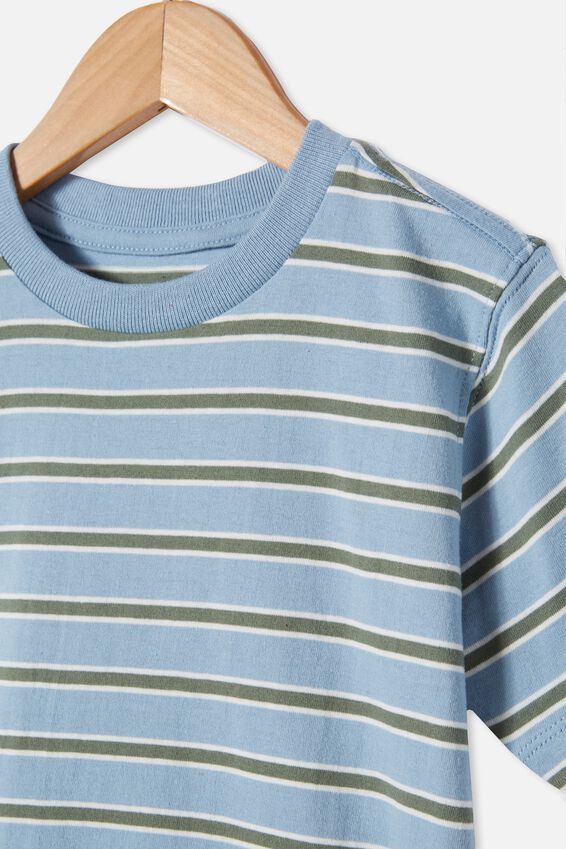 Max Skater Short Sleeve Tee, DUSTY BLUE / SWAG GREEN STRIPE