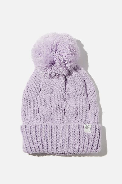 Winter Knit Beanie, VINTAGE LILAC YARN POM POM