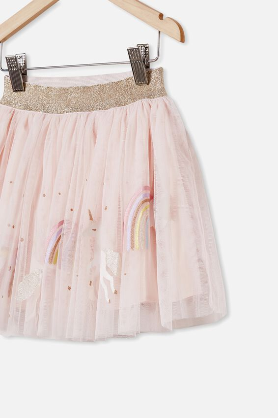 Trixiebelle Dress Up Skirt, CRYSTAL PINK/UNICORNS & RAINBOWS