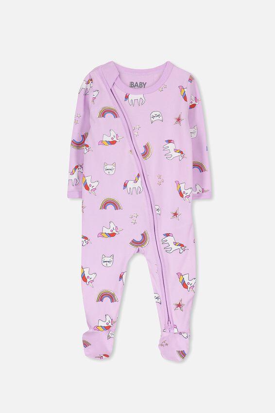 Sleep Mini Zip All In One Jumpsuit, LILAC SORBET/UNICORN