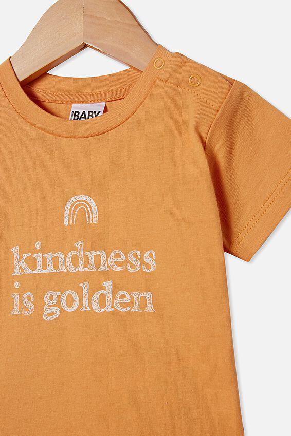Jamie Short Sleeve Tee, APRICOT SUN/KINDNESS IS GOLDEN