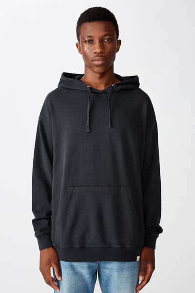 Pigment Dyed Oversized Pullover, WASHED BLACK