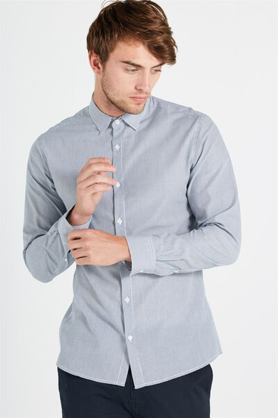Slim Smart Shirt, NAVY PINSTRIPE