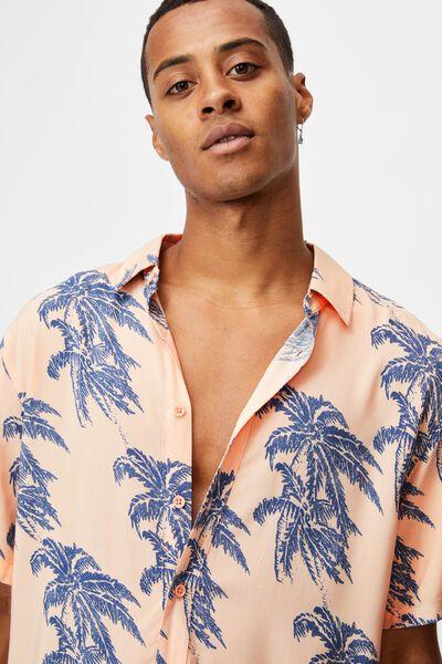 Short Sleeve Resort Shirt, APRICOT ISLAND TIMES