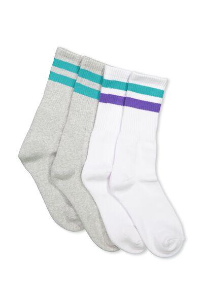 2 Pack Crew Socks, WHITE/TEAL SPORT STRIPE