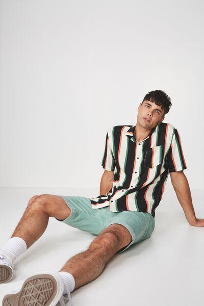 Festival Shirt, BLACK GREEN STRIPE