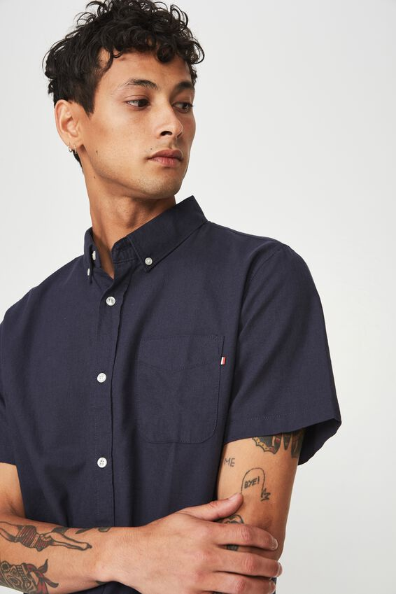 Vintage Prep Short Sleeve Shirt, NAVY OXFORD