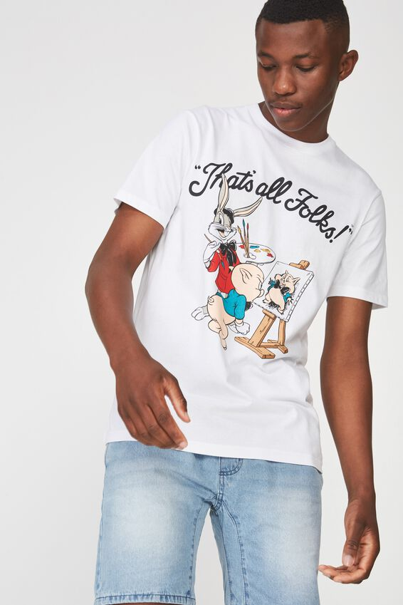Tbar Collaboration Tee, LC WHITE/LOONEY TUNES - THATS ALL FOLKS