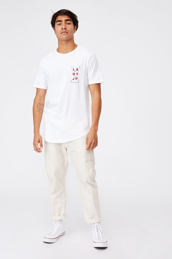 Longline Scoop T-Shirt, WHITE/GOOD COMPANY