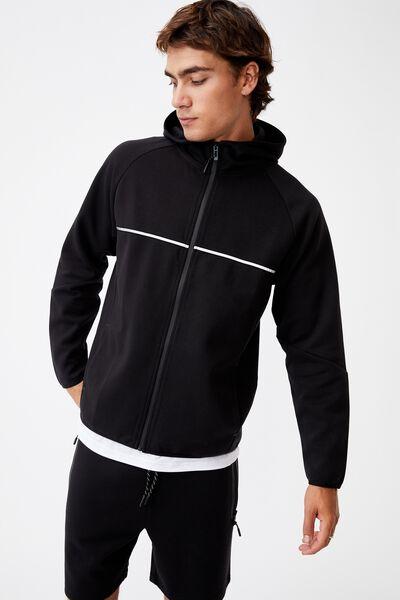 Active Tech Zip Thru Hood, BLACK