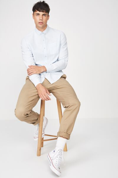 Premium Linen Cotton Long Sleeve Shirt, SKY