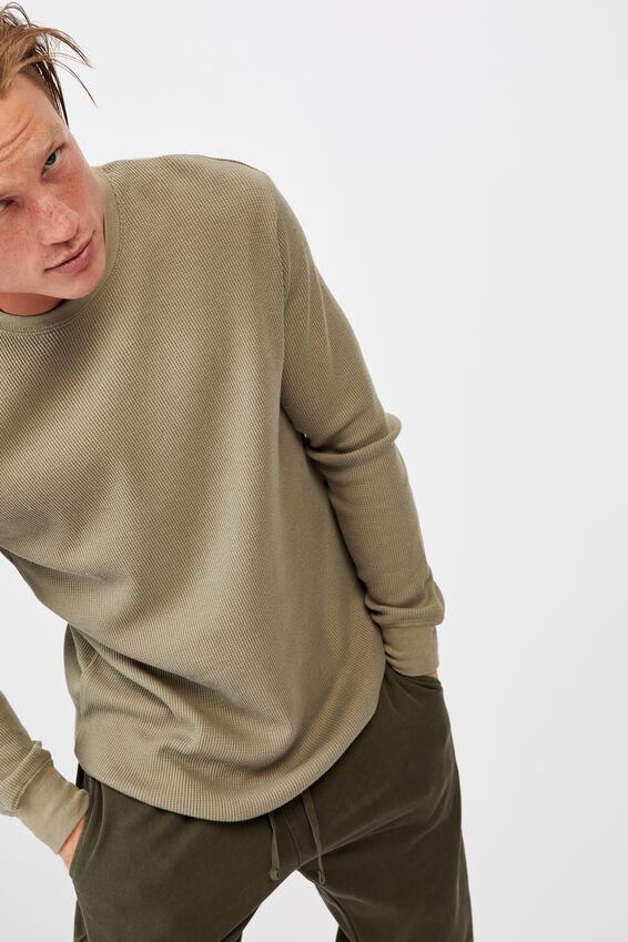 Waffle Long Sleeve T-Shirt, MOSS STONE