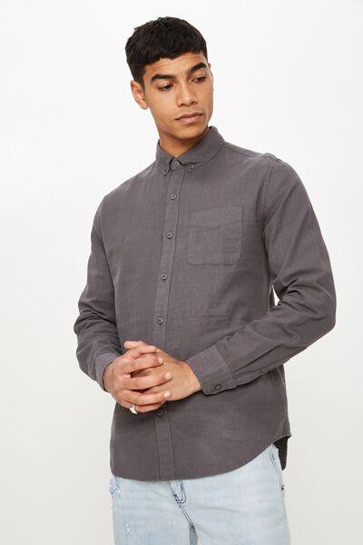 Premium Linen Cotton Long Sleeve Shirt, SLATE