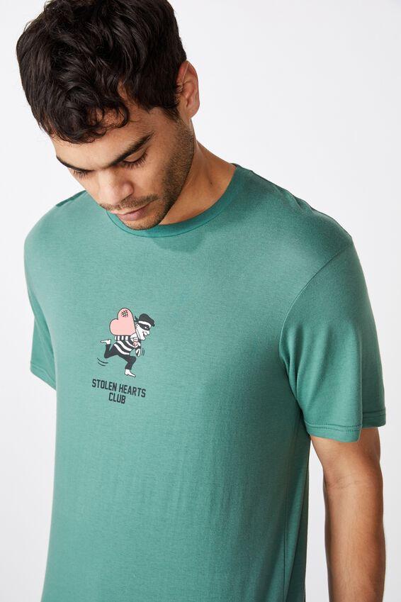 Tbar Art T-Shirt, FADED TEAL/STOLEN HEARTS CLUB