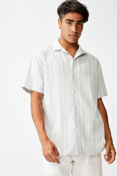 Textured Short Sleeve Shirt, MID BLUE STRIPE