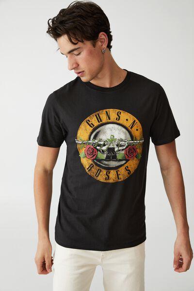 Tbar Collab Icon T-Shirt, LCN BRA WASHED BLACK/GUNS N ROSES-VINTAGE LOG