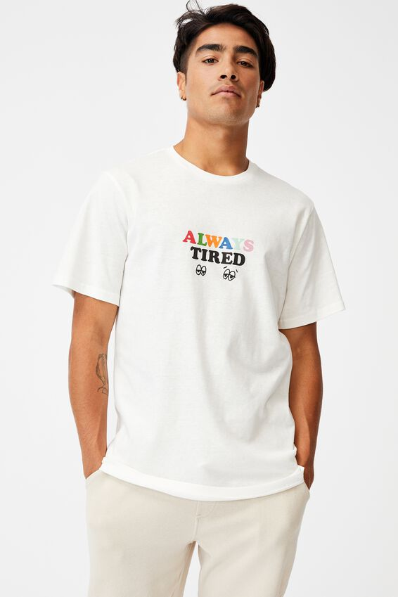Tbar Text T-Shirt, VINTAGE WHITE/ALWAYS TIRED