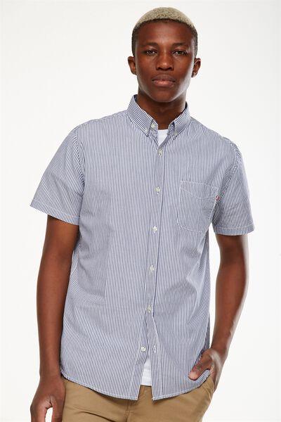 Vintage Prep Short Sleeve Shirt, NAVY WHITE STRIPE
