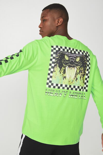 Tbar Long Sleeve, NEON GREEN/HEAVY METAL SNAKE