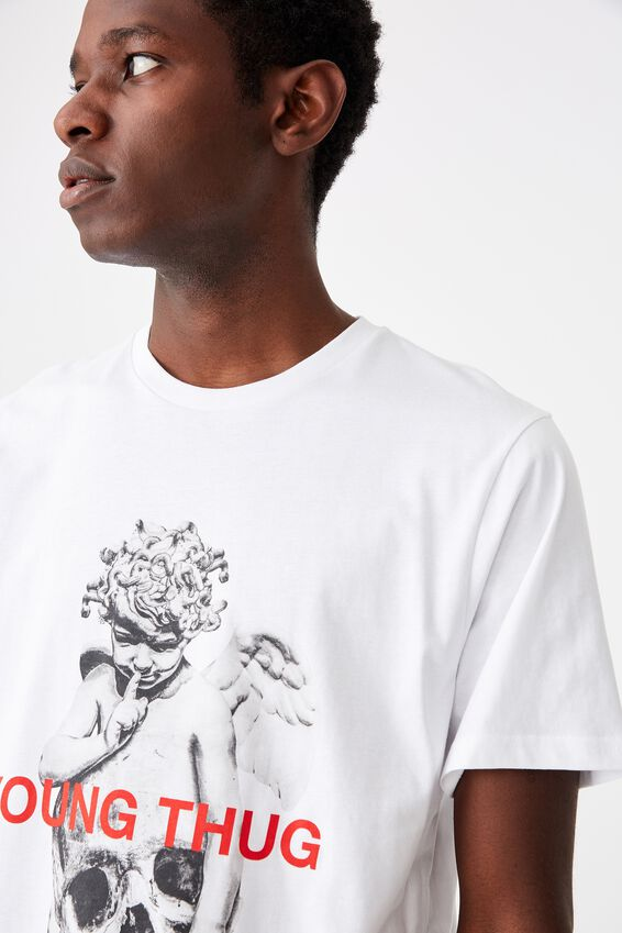 Tbar Collab Music T-Shirt, LCN MT WHITE/YOUNG THUG - SKULL STATUE