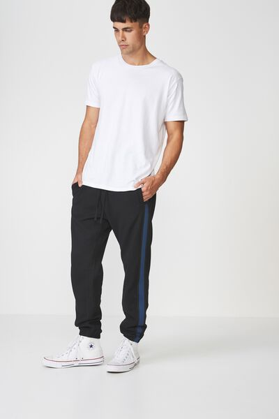 Classic Track Jogger, BLACK/RIBBED TAPE