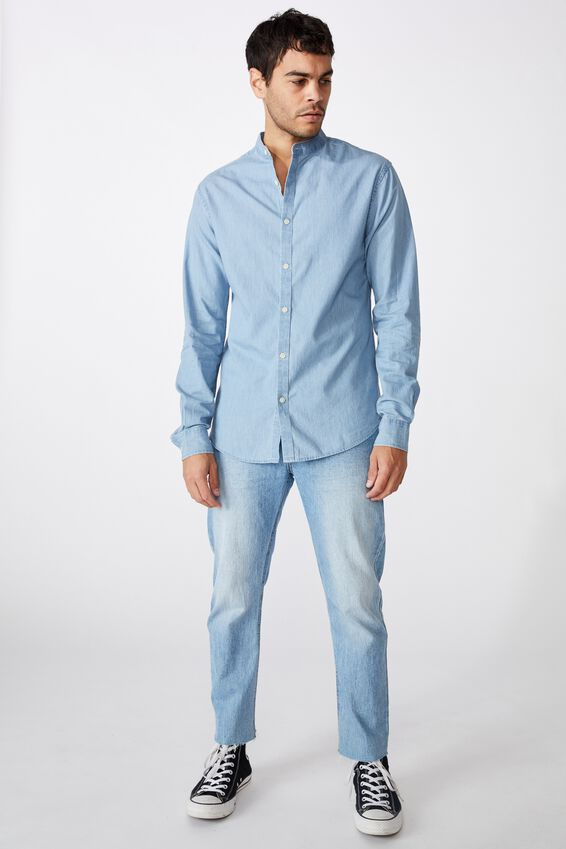 Banded Collar Shirt, BLEACH