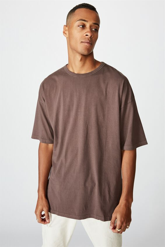 Oversized Droptail Tee, WASHED CHOCOLATE