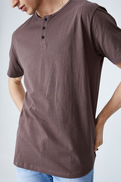 Longline Scoop Henley T-Shirt, WASHED CHOCOLATE