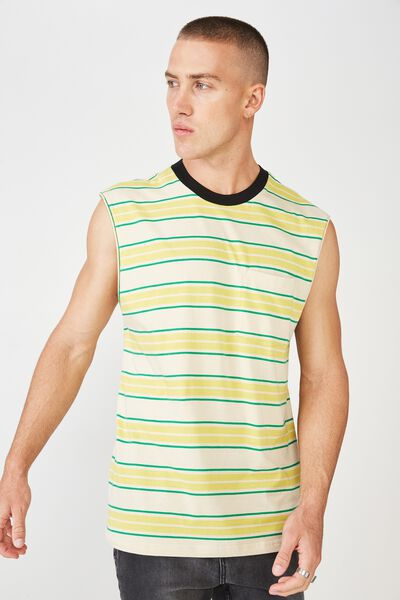 Drop Shoulder Muscle, SEA MIST/CLASSIC GREEN/MUSTARD STRIPE