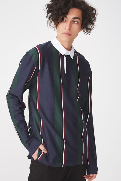 Rugby Polo, NAVY GREEN STRIPE