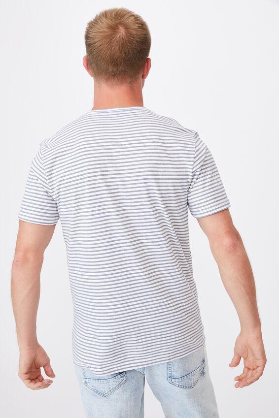 Graduate T-Shirt, DUSTY DENIM/WHITE TRIPLE STRIPE