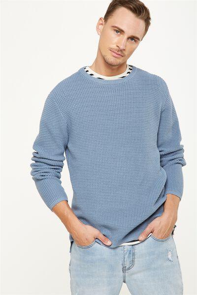 Split Hem Knit, BLUE WAFFLE