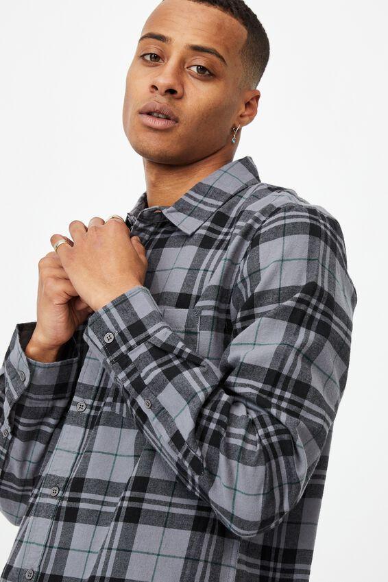 Washed Long Sleeve Check Shirt, BLACK CHECK