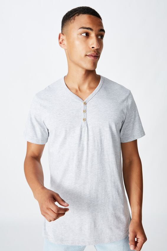 Essential Henley T-Shirt, LIGHT GREY MARLE