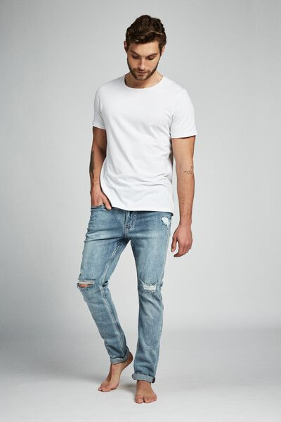 Tapered Leg Jean, CRYPTIC BLUE + RIPS