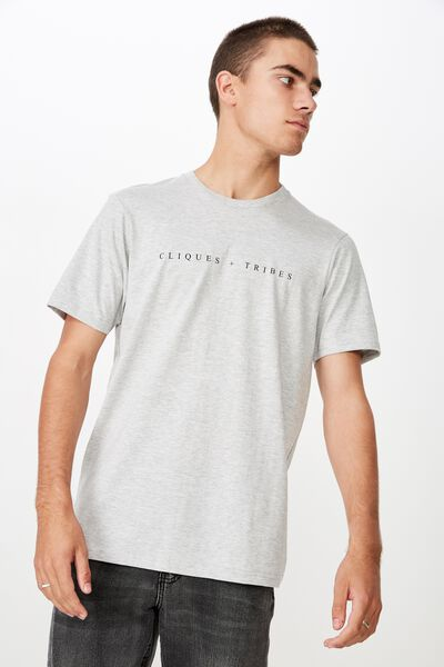 Tbar Urban T-Shirt, LIGHT GREY MARLE/CLIQUES & TRIBES 2