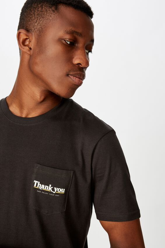Tbar Text T-Shirt, WASHED BLACK/THANK YOU POCKET
