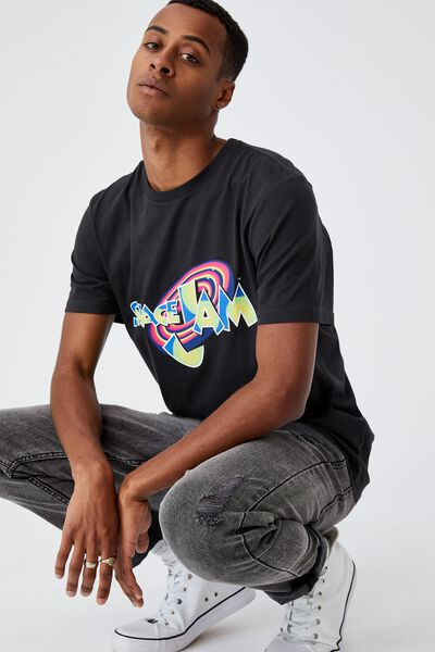 Tbar Collab Movie And Tv T-Shirt, LCN WB WASHED BLACK/SPACE JAM - NEON LOGO