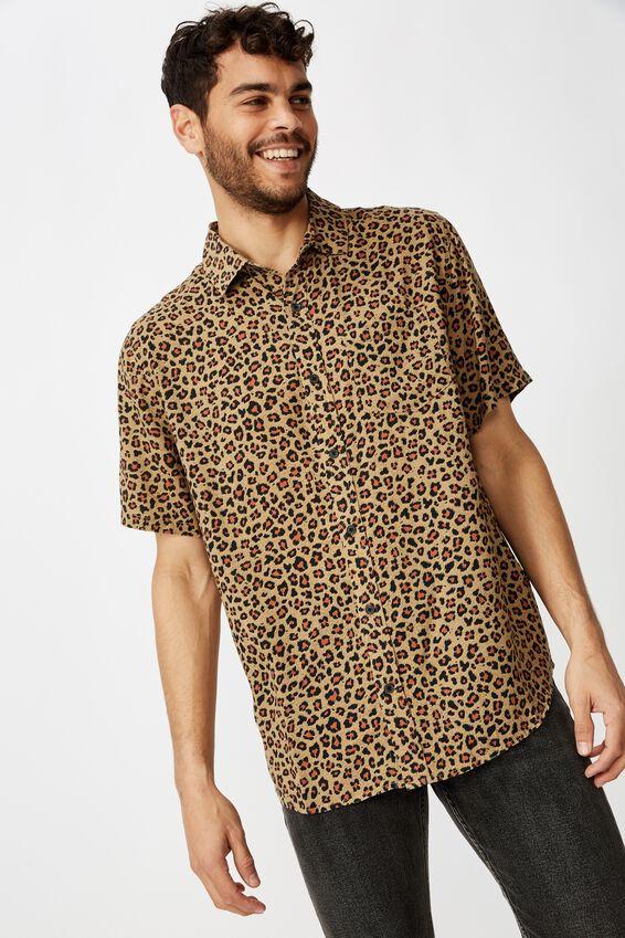 91 Short Sleeve Shirt, TAN ANIMAL